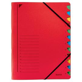 Ordnungsmappe mit Gummizug A4 mit 12 Fächern rot Karton Leitz 3912-00-25 Produktbild