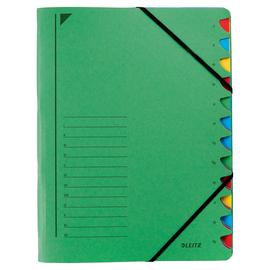 Ordnungsmappe mit Gummizug A4 mit 12 Fächern grün Karton Leitz 3912-00-55 Produktbild