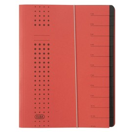 Ordnungsmappe chic mit Gummizug A4 mit 12 Fächern rot Karton Elba 400001993 Produktbild