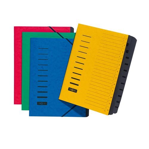 Ordnungsmappe mit 12 Fächern und Gummizug gelb Karton Pagna 24122-05 Produktbild