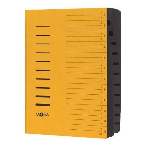 Ordnungsmappe mit 12 Fächern und Gummizug gelb Karton Pagna 24122-05 Produktbild Additional View 1 L