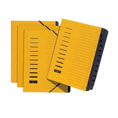 Ordnungsmappe mit 12 Fächern und Gummizug gelb Karton Pagna 24122-05 Produktbild Additional View 2 L