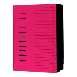 Ordnungsmappe mit 12 Fächern und Gummizug rot Karton Pagna 24122-01 Produktbild