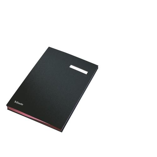 Unterschriftsmappe 10Fächer A4 schwarz Pappe mit PP Esselte 621064 Produktbild Front View L