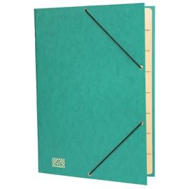 Ordnungsmappe mit 9 Fächern und Gummizug mit 3 Klappen A4 grün Karton RNK 4616-5 Produktbild