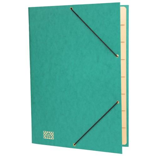 Ordnungsmappe mit 9 Fächern und Gummizug mit 3 Klappen A4 grün Karton RNK 4616-5 Produktbild Front View L