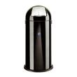 Abfallsammler mit Push-Klappe ø 37cm 52l schwarz Stahlblech Alco 2905-11 Produktbild