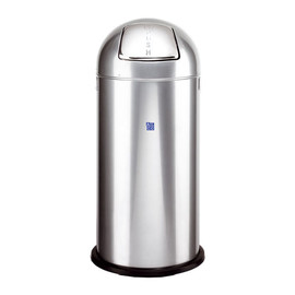 Abfallsammler mit Push-Klappe ø 37cm 52l silber Stahlblech Alco 2905-36 Produktbild