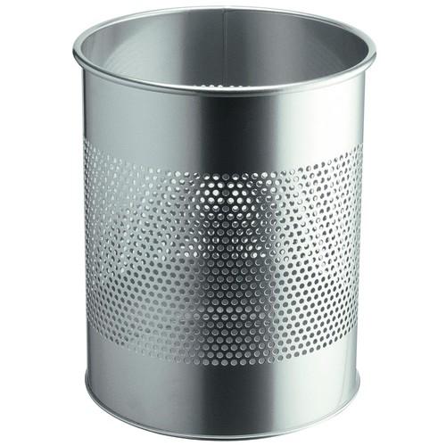 Papierkorb rund mit Perforation 15l silber Stahl Durable 3310-23 Produktbild Front View L