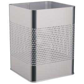 Papierkorb eckig mit Perforation 32x24cm 18,5l silber Stahl Durable 3321-23 Produktbild