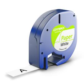 Schriftband Letratag 12mm/4m schwarz auf weiß Papier Dymo S0721510 (ST=4 METER) Produktbild