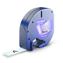 Schriftband Letratag 12mm/4m schwarz auf transparent Plastik Dymo S0721530 (ST=4 METER) Produktbild