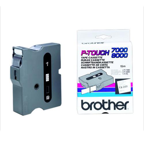 Schriftband laminiert 24mm/15m schwarz auf weiß Brother TX-251 (ST=15 METER) Produktbild Additional View 1 L