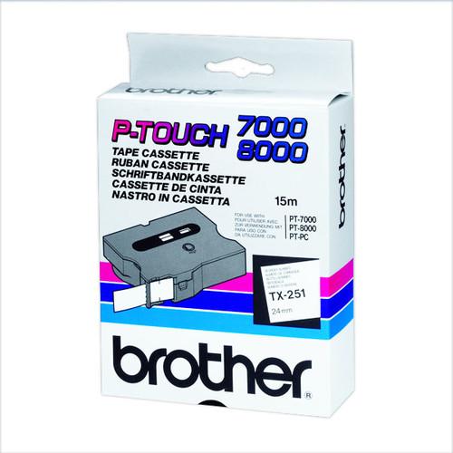 Schriftband laminiert 24mm/15m schwarz auf weiß Brother TX-251 (ST=15 METER) Produktbild Additional View 2 L