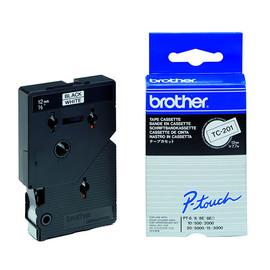 Schriftband laminiert 12mm/7,7m schwarz auf weiß Brother TC-201 (ST=7,7 METER) Produktbild