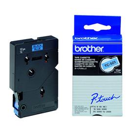 Schriftband laminiert 12mm/7,7m schwarz auf blau Brother TC-501 (ST=7,7 METER) Produktbild