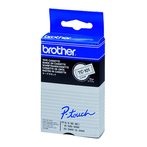 Schriftband laminiert 12mm/7,7m schwarz auf farblos Brother TC-101 (ST=7,7 METER) Produktbild Additional View 2 L