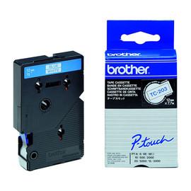 Schriftband laminiert 12mm/7,7m blau auf weiß Brother TC-203 (ST=15 METER) Produktbild