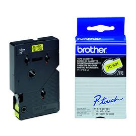 Schriftband laminiert 12mm/7,7m schwarz auf gelb Brother TC-601 (ST=7,7 METER) Produktbild