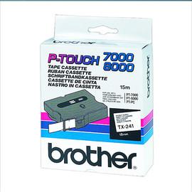Schriftband laminiert 18mm/10m schwarz auf weiß Brother TX-241 (ST=15 METER) Produktbild