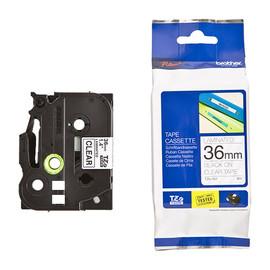 Schriftband laminiert 36mm/8m schwarz auf farblos Brother TZe-161 (ST=8 METER) Produktbild