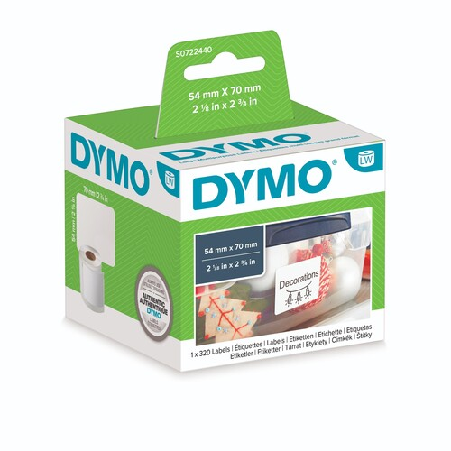 LabelWriter-Disketten-Etiketten 54x70mm weiß Dymo S0722440 (PACK=320 STÜCK) Produktbild Front View L
