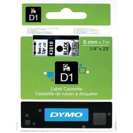Schriftband D1 6mm/7m schwarz auf transparent Dymo S0720770 (ST=7 METER) Produktbild