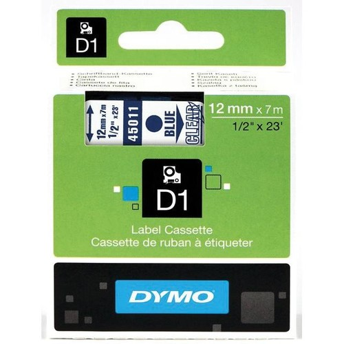 Schriftband D1 12mm/7m blau auf transparent Dymo S0720510 (ST=7 METER) Produktbild Front View L