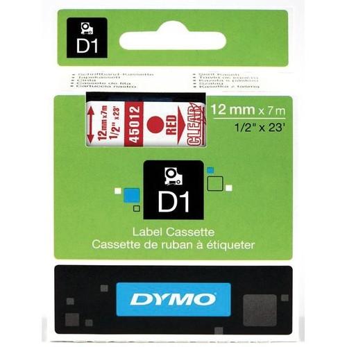Schriftband D1 12mm/7m rot auf transparent Dymo S0720520 (ST=7 METER) Produktbild Front View L