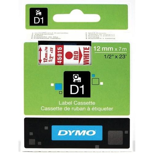 Schriftband D1 12mm/7m rot auf weiß Dymo S0720550 (ST=7 METER) Produktbild Front View L