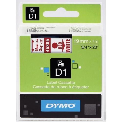 Schriftband D1 19mm/7m rot auf weiß Dymo S0720850 (ST=7 METER) Produktbild Front View L
