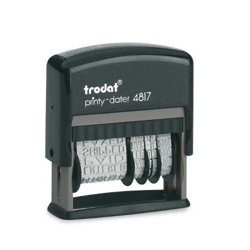 Wortbandstempel mit Datum Printy inkl. 12 Texte selbstfärbend Schrifthöhe 4mm schwarz Trodat 4817 Produktbild Front View L