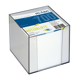 Zettelbox mit weißem Papier 9x9x9cm rauchglas Kunststoff Milan 270 Produktbild