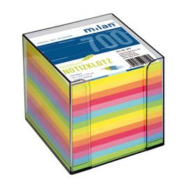 Zettelbox mit 7-farbigem Papier 9x9x9cm rauchglas Kunststoff Milan 277 Produktbild