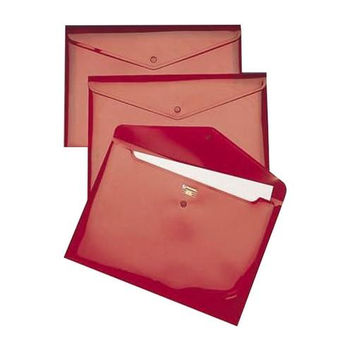 Aktentasche Carry Folder mit Druckknopf A4 bis 100Blatt rot transparent PP Rexel 16129RD (PACK=5 STÜCK) Produktbild Front View L