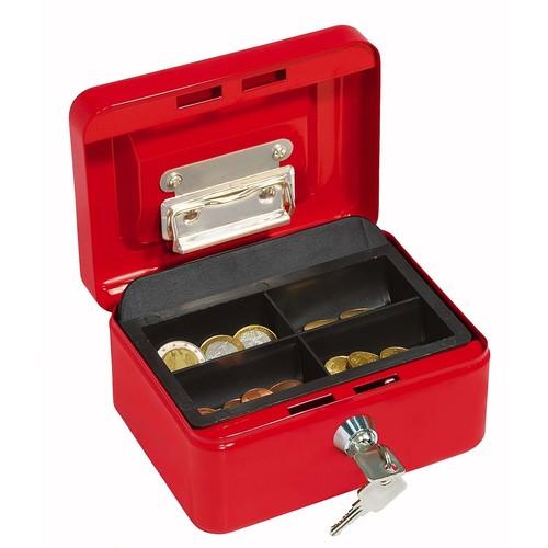 Geldkassette Gr. 1 mit Kunststoffeinsatz 152x115x80mm rot Stahl Wedo 145102H Produktbild Additional View 1 L