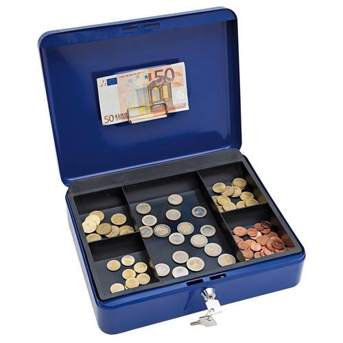 Geldkassette Gr. 4 mit Kunststoffeinsatz 300x240x90mm blau Stahl Wedo 145403H Produktbild Additional View 1 L