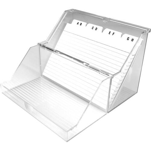 Kleinkartei mit 50Karten und A-Z Register A7 120x73x94mm für 300Karten glasklar Kunststoff Helit H6114702 Produktbild Front View L