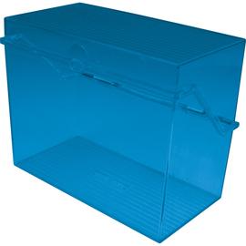Kleinkartei A7 120x73x94mm für 300Karten blau transluzent Kunststoff Helit H6904730 Produktbild