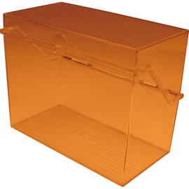Kleinkartei A7 120x73x94mm für 300Karten orange transluzent Kunststoff Helit H6904740 Produktbild