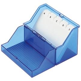 Kleinkartei mit 100Karten und A-Z Register A8 80x60x72mm für 200Karten blau transluzent Kunststoff Helit Produktbild