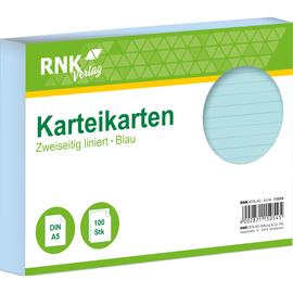 Karteikarten A5 liniert blau holzfrei RNK 11505 (PACK=100 STÜCK) Produktbild