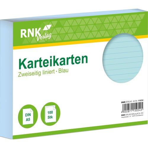 Karteikarten A5 liniert blau holzfrei RNK 11505 (PACK=100 STÜCK) Produktbild Front View L