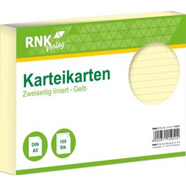 Karteikarten A5 liniert gelb holzfrei RNK 11505 (PACK=100 STÜCK) Produktbild