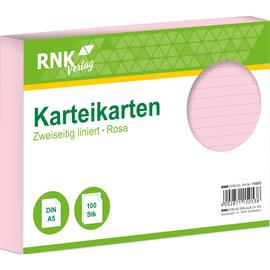 Karteikarten A5 liniert rosa holzfrei RNK 11505 (PACK=100 STÜCK) Produktbild