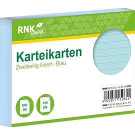 Karteikarten A6 liniert blau holzfrei RNK 11506 (PACK=100 STÜCK) Produktbild