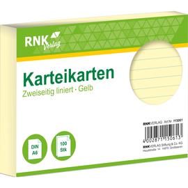 Karteikarten A6 liniert gelb holzfrei RNK 11506 (PACK=100 STÜCK) Produktbild