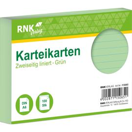 Karteikarten A6 liniert grün holzfrei RNK 11506 (PACK=100 STÜCK) Produktbild