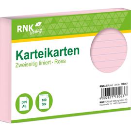 Karteikarten A6 liniert rosa holzfrei RNK 11506 (PACK=100 STÜCK) Produktbild