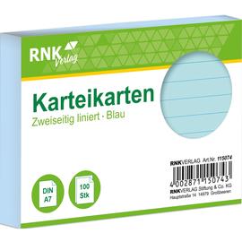 Karteikarten A7 liniert blau holzfrei RNK 11507 (PACK=100 STÜCK) Produktbild